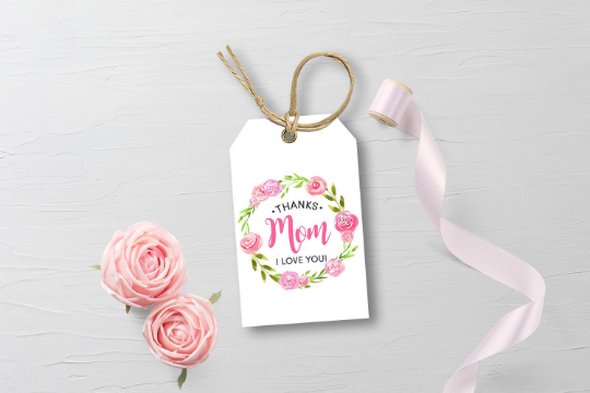Thanks MOM I love you Watercolor Flower Wreath Gift Tag, Blush Pink Floral Happy Mother's Day  [INSTANT DOWNLOAD] - TitaTipsPrintables