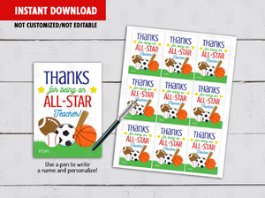 Thanks for being an All Star Teacher Gift Tag, Sports Coach Appreciation Card,  [INSTANT DOWNLOAD] - TitaTipsPrintables