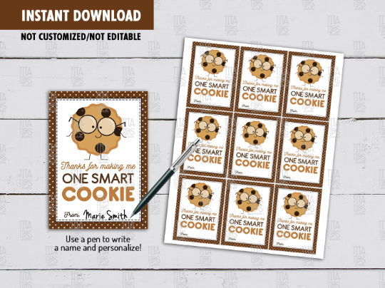 Thanks for making me One Smart Cookie Gift Tag, Chocolate Chips Card, Teacher Appreciation [INSTANT DOWNLOAD] - TitaTipsPrintables