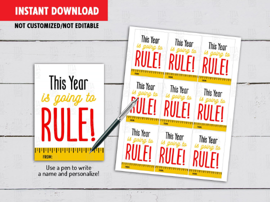This Year Is Going To RULE Gift Tag, Ruler Card, Classmates Exchange Ideas [INSTANT DOWNLOAD] - TitaTipsPrintables