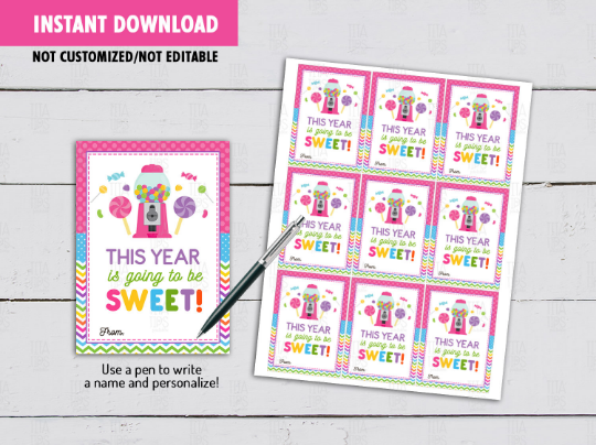 This Year Is Going To Be SWEET Gift Tag, Gum Machine Classmates Exchange Cards Ideas [INSTANT DOWNLOAD] - TitaTipsPrintables