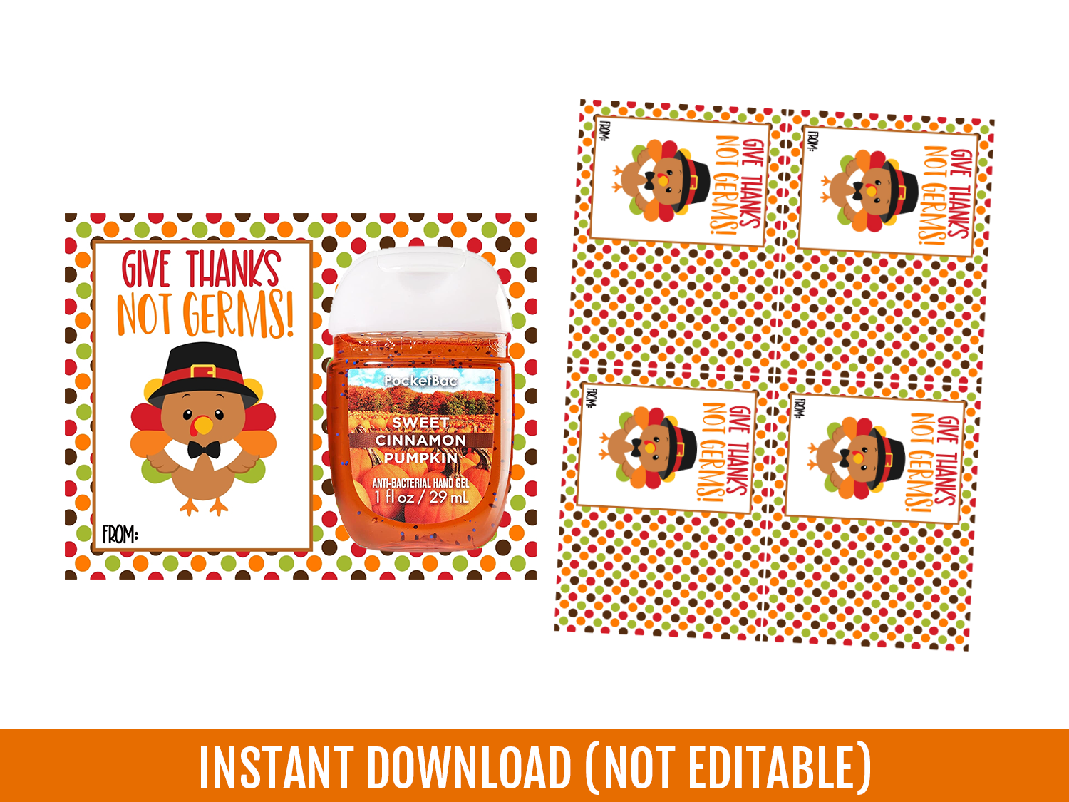 Give Thanks No Germs Card, Happy Thanksgiving  Hand Sanitizer Holder, Gift Exchange Ideas, Instant Download