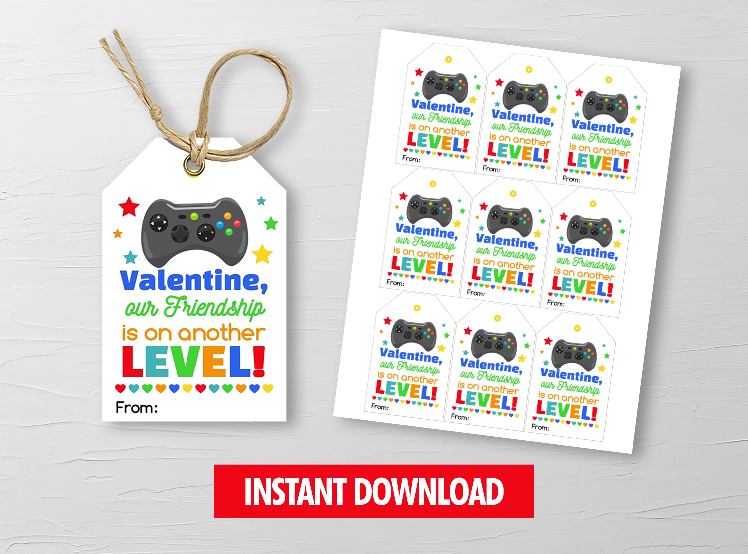 Video Game Valentine Card, Gamer Favor Tags, School Exchange Ideas, INSTANT ACCESS - TitaTipsPrintables