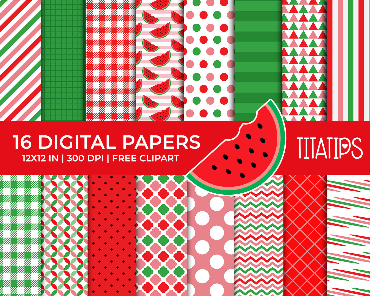 Watermelon Digital Paper Set, Commercial Use [INSTANT DOWNLOAD] - TitaTipsPrintables