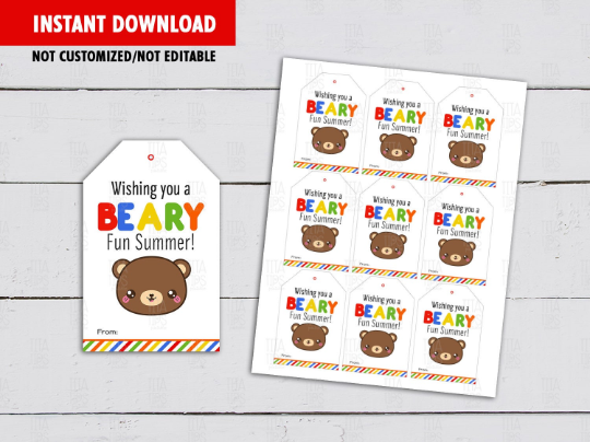 Have a BEARY Good Summer Gifts Tag, Gummy Bears Favors, Teddy Classmates Exchange Card Ideas [INSTANT DOWNLOAD] - TitaTipsPrintables
