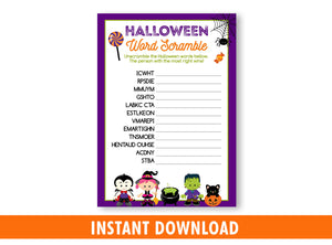 Halloween Word Scramble Printable Game for Kids, Classroom Games and Activities, INSTANT DOWNLOAD - TitaTipsPrintables