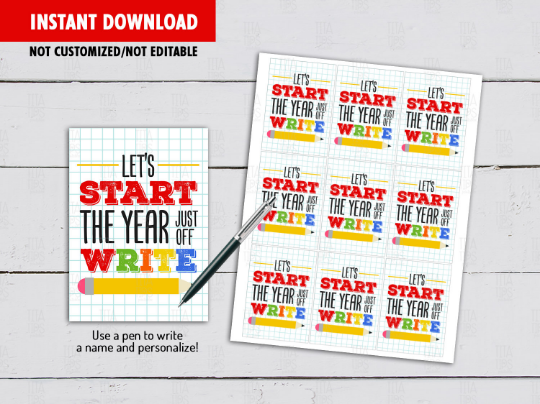 Let's Start The Year Just Off WRITE Gift Tag, Pencil Card, Classmates Exchange Ideas [INSTANT DOWNLOAD] - TitaTipsPrintables