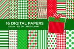 Christmas Digital Papers Set, Scrapbooking Pack, Free Present Clipart, Commercial Use [INSTANT DOWNLOAD]