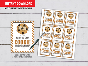 You are One Smart Cookie Gift Tag, Chocolate Chip Cookie, Classmates Exchange Cards Ideas [INSTANT DOWNLOAD] - TitaTipsPrintables