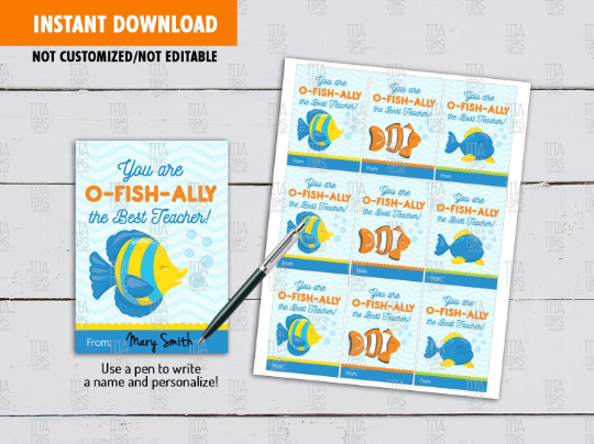 You are O-Fish-Ally the Best Teacher Card, Fish Bowl Gift Tag Ideas  [INSTANT DOWNLOAD] - TitaTipsPrintables