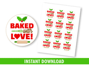 Baked with LOVE Gift Tags, Christmas Round Label, Staff Exchange Ideas, INSTANT DOWNLOAD