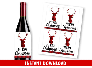 Wine Bottle Labels for Teachers, Buffalo Plaid, Reindeer Gift Appreciation Ideas, INSTANT DOWNLOAD