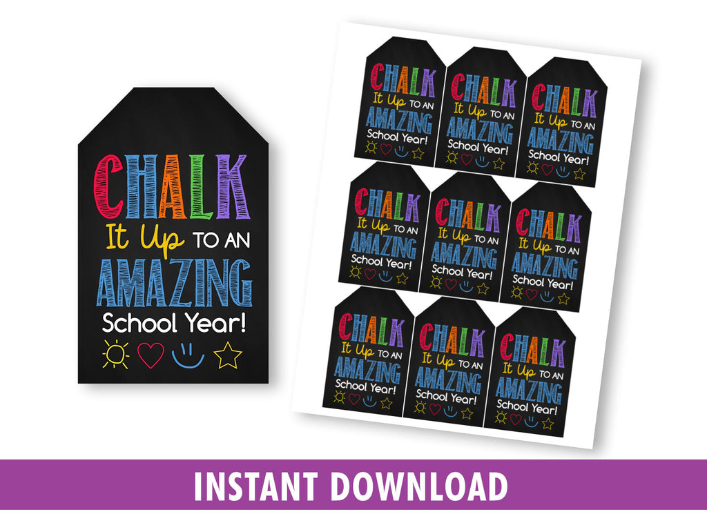 Chalk it up to an amazing school year, Sidewalk Gift Tag, Favors Card Ideas INSTANT DOWNLOAD - TitaTipsPrintables