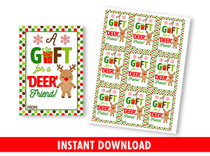 A gift for a Deer FRIEND Gift Tag, Christmas Printable Card, Reindeer Favor Tags, Instant Download