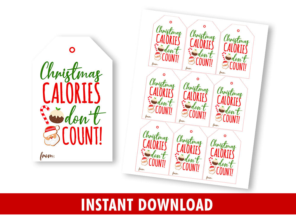Calories Don´t Count Favor Tags, Homemade Cookies Gift Tags Classmates Exchange, Instant Download