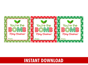 You're the BOMB Gift Tag Stickers, Printable Square Labels, Classmate Holidays Exchange, Instant Download