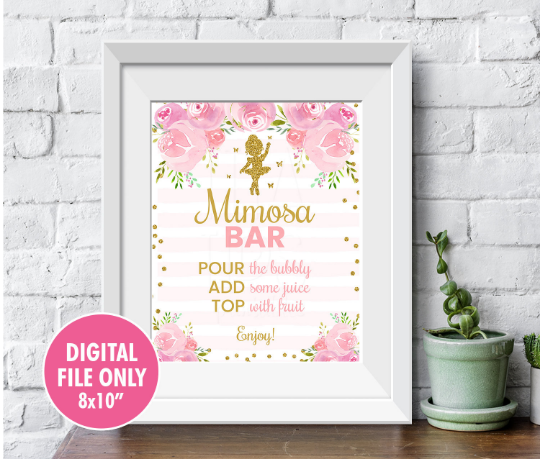 Ballerina Mimosa Bar Sign, Blush Pink Tutu Dancer Baby Shower Decor, Printable Ballet Table Sign, Instant Download - TitaTipsPrintables