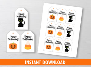 Happy Halloween Gift Tags Ideas, Black Cat, Jack-o'-lantern, Candy Corn, Instant Download - TitaTipsPrintables