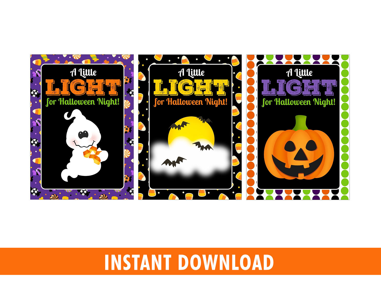 A Little Light for Halloween Night, Classmate Gift Tags Ideas, Glow stick holder,  Instant Download - TitaTipsPrintables