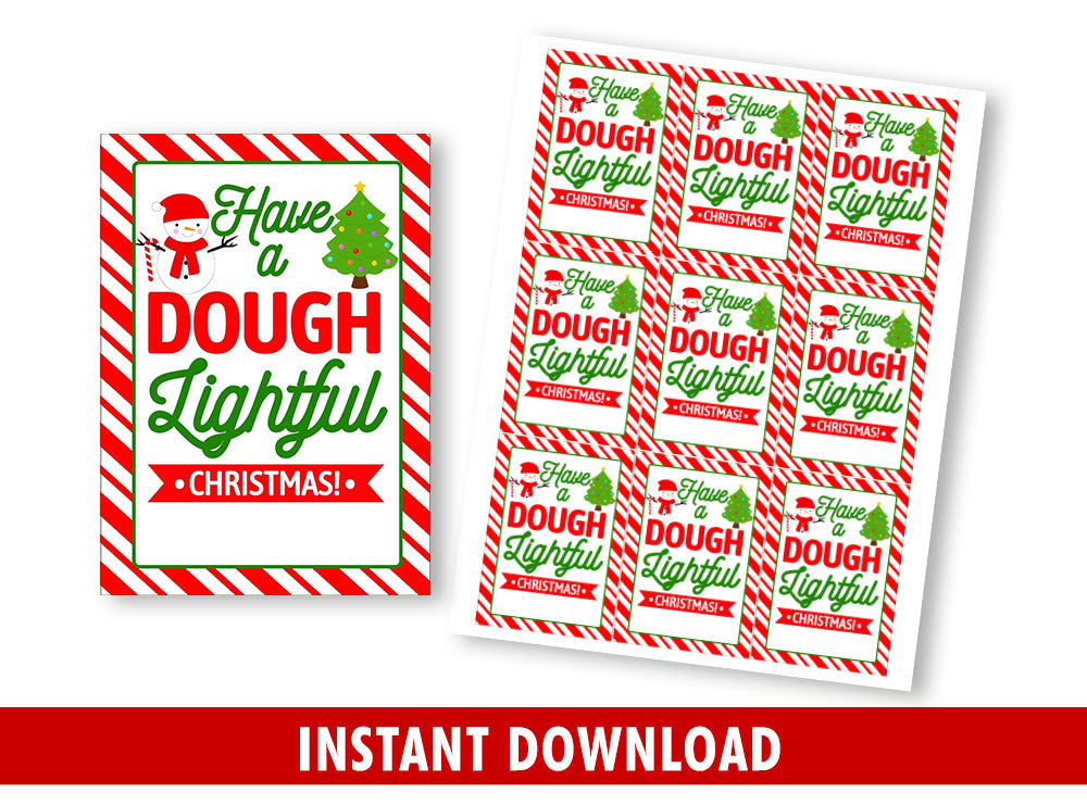 Have a Dough Lightful Christmas Gift Tag, Snowman Favor Tags, Holidays Printable Card, Instant Download