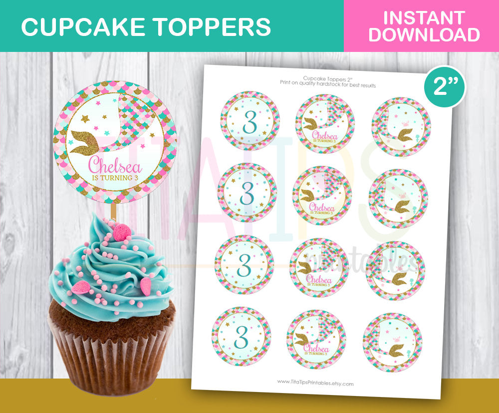 Editable Cupcake Toppers Little Mermaid, Little Mermaid Birthday Supplies, Pink Gold Mermaid Tail, Under the Sea Party, INSTANT DOWNLOAD - TitaTipsPrintables