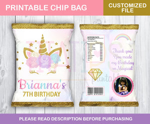Unicorn Customized Chip Bag Printable, Floral Magical Unicorn Chip bag, Unicorn Party Supplies, Party Candy Bags, Unicorn Goodie Bags - TitaTipsPrintables
