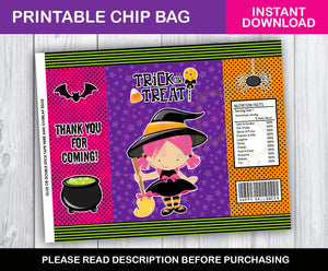 Halloween Chip Bag Printable, With Printable Chip bag, Halloween Party Supplies, Party Candy Bags, Goodie Bags, Instant Download - TitaTipsPrintables