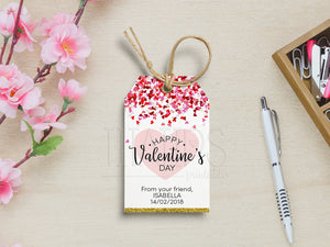Valentine's Tags, Heart Valentines Gift Favor, PDF Template, Instant Download - TitaTipsPrintables