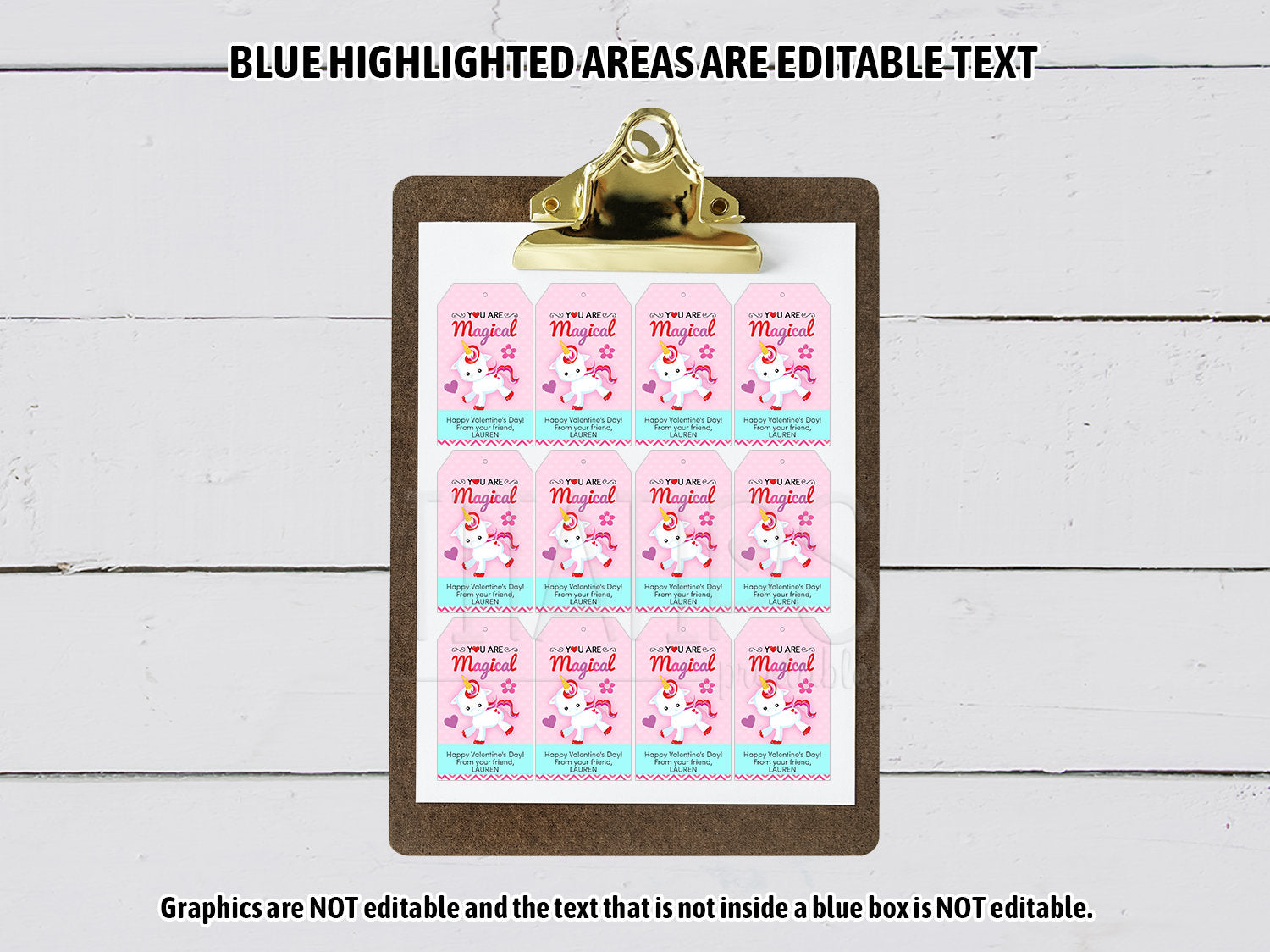 You are Magical Gift Tags! Editable Unicorn Valentine's Day Favor Tags, Instant Download - TitaTipsPrintables