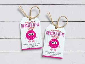 You are a Monster-iffic Friend Gift Tags, Printable Valentine Favor Cards, School Exchange, Instant Download - TitaTipsPrintables