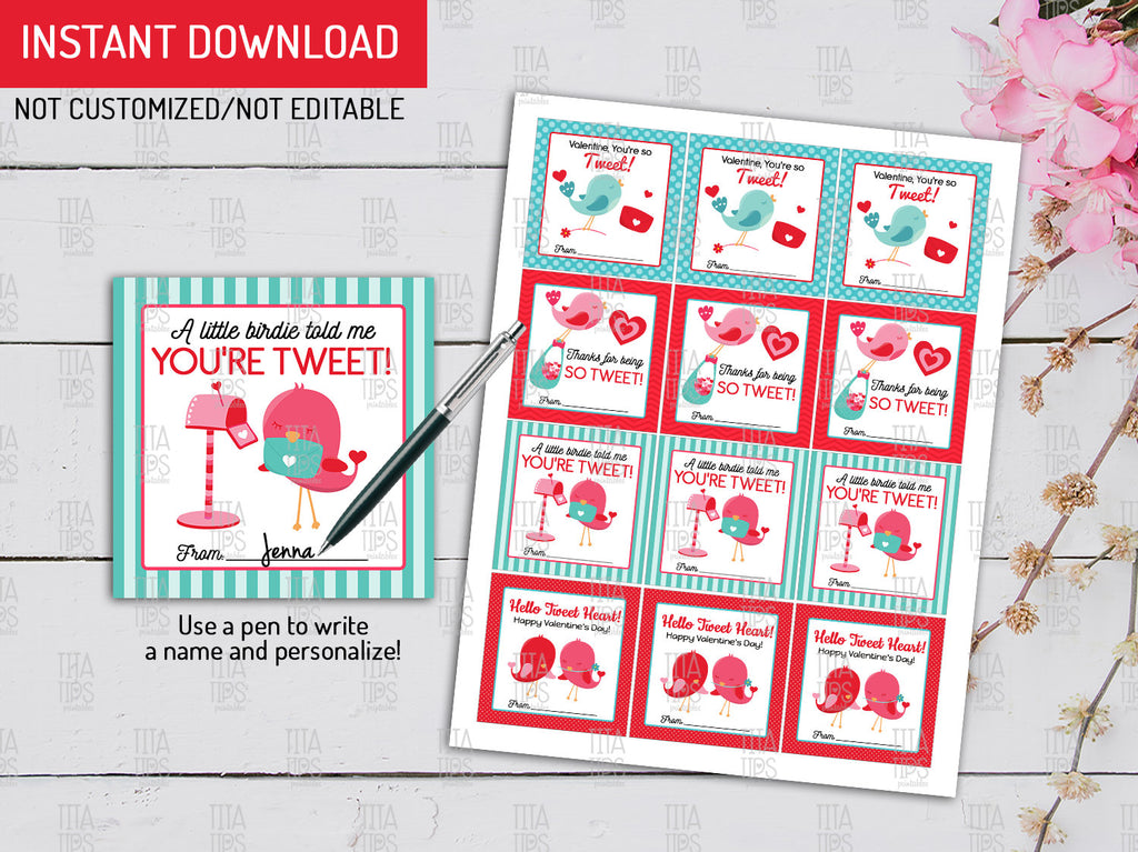 A Little Birdie Gift Tags Ideas, Tweet Classroom Exchange Cards, Bird Favor Tags - TitaTipsPrintables