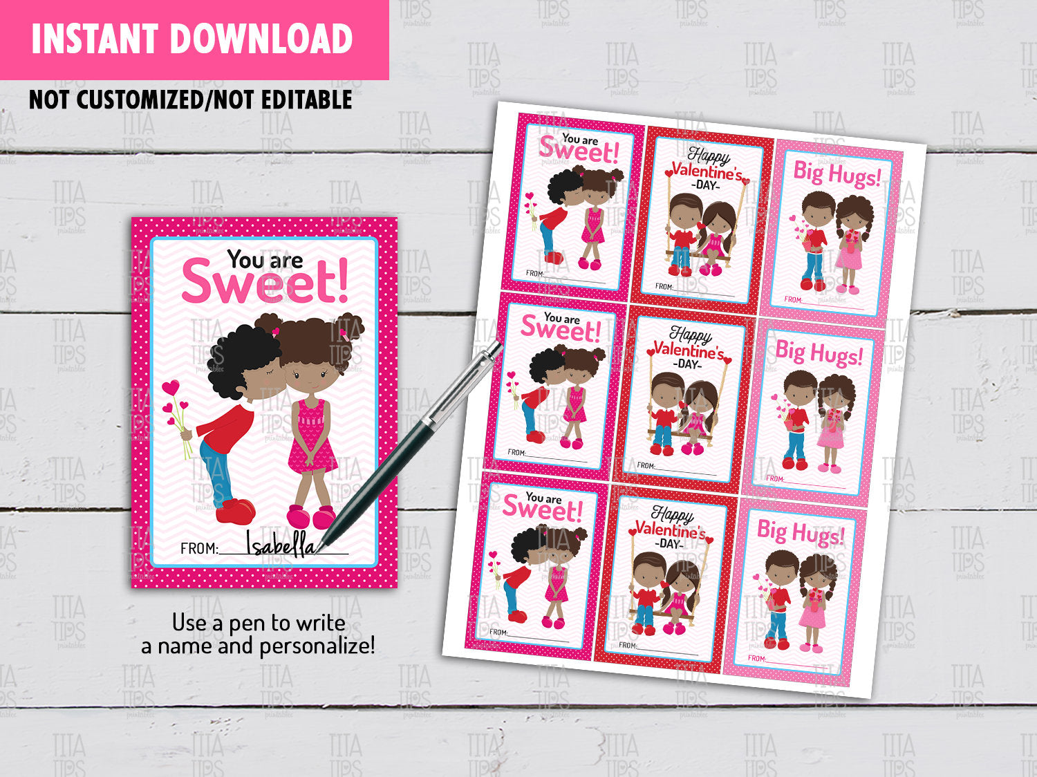 African Kids Valentine's Day Card DIY Printable, Boy and Girl Exchange Tag, Instant Download - TitaTipsPrintables