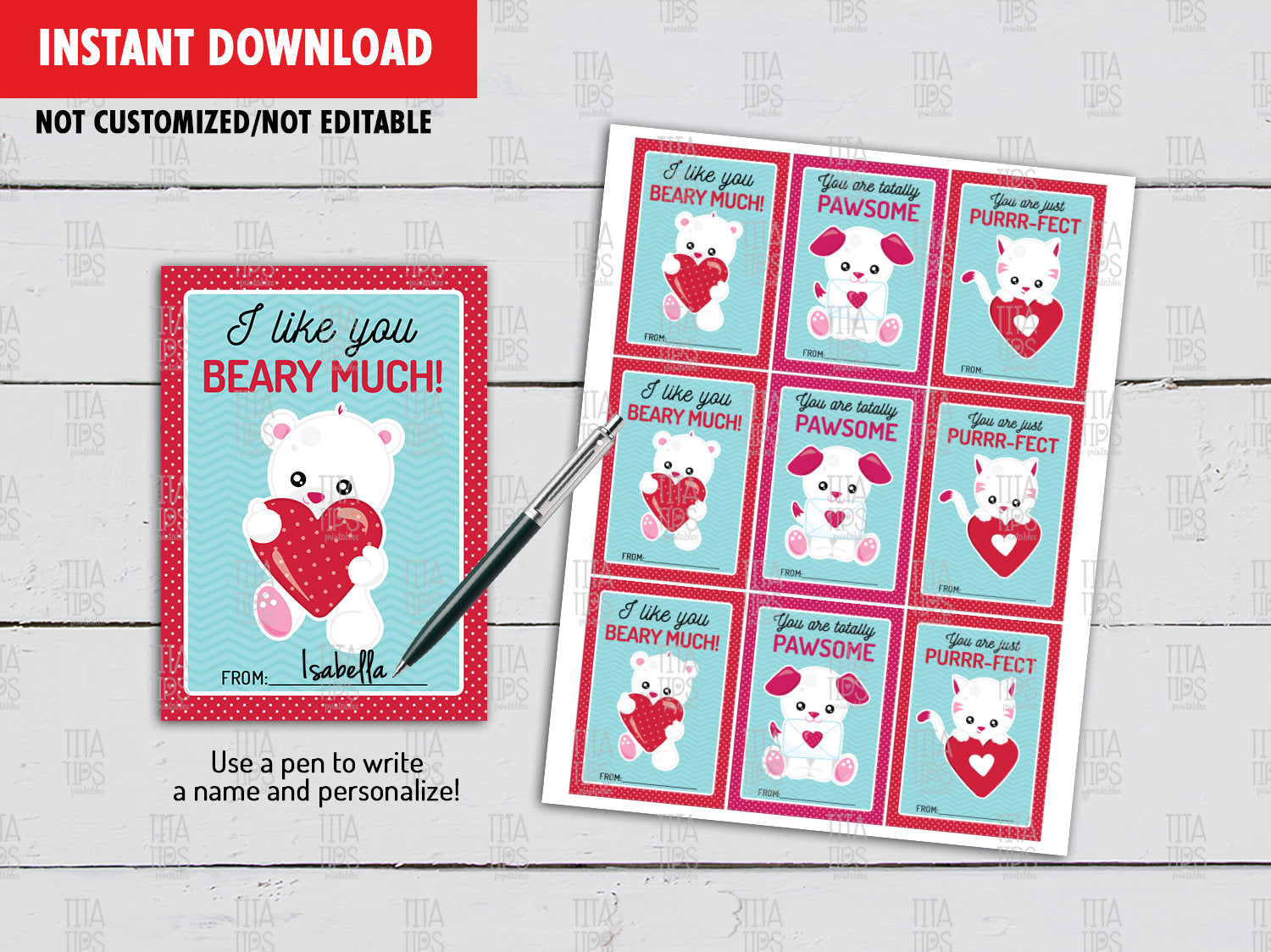 Animals Valentine's Day Card DIY Printable, Dog, Cat, Teddy Bear School Exchange Tag Ideas, Instant Download - TitaTipsPrintables