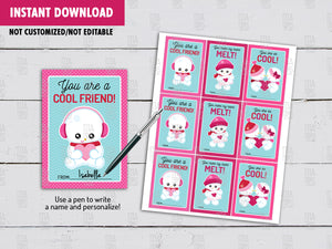 Snowbabies Valentine's Day Card DIY Printable, Cool Friend School Exchange Tag, Instant Download - TitaTipsPrintables