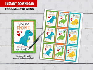 Dinosaur Valentine's Day Card DIY Printable, Dino-Mite Boy Exchange Tag, Instant Download - TitaTipsPrintables