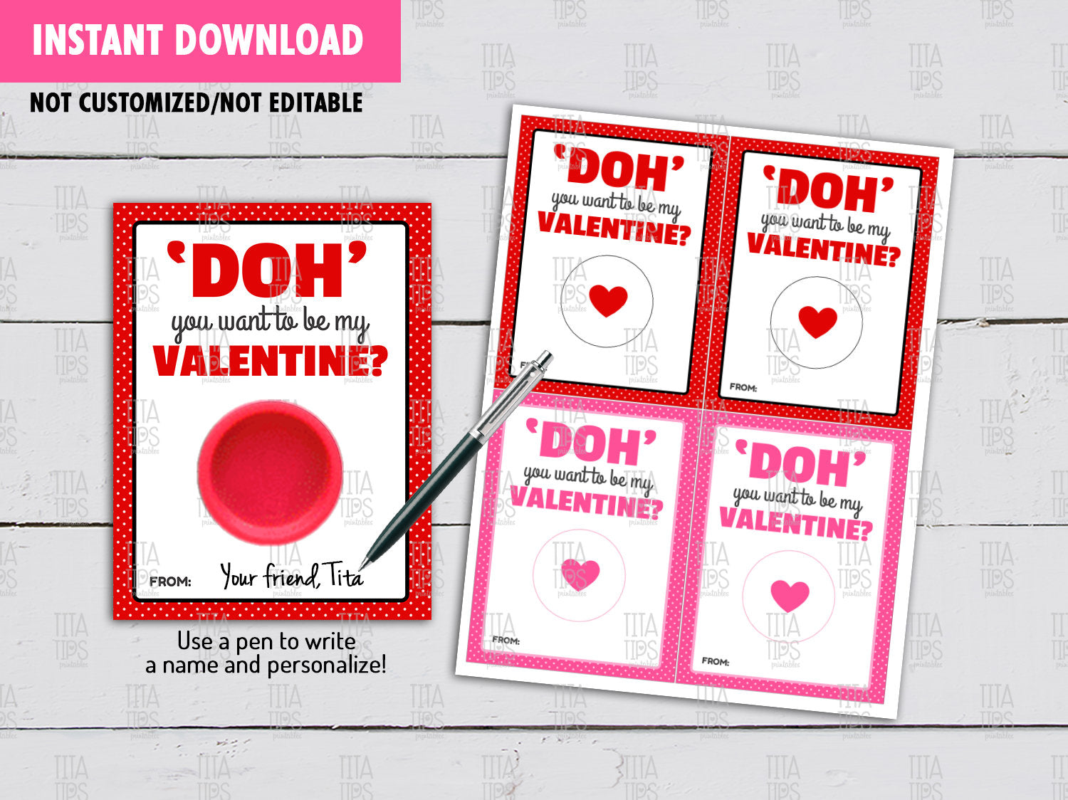 Valentine's Day Play Dough Card DIY Printable, DOH you want to be my Valentine Exchange Tag, Instant Download - TitaTipsPrintables