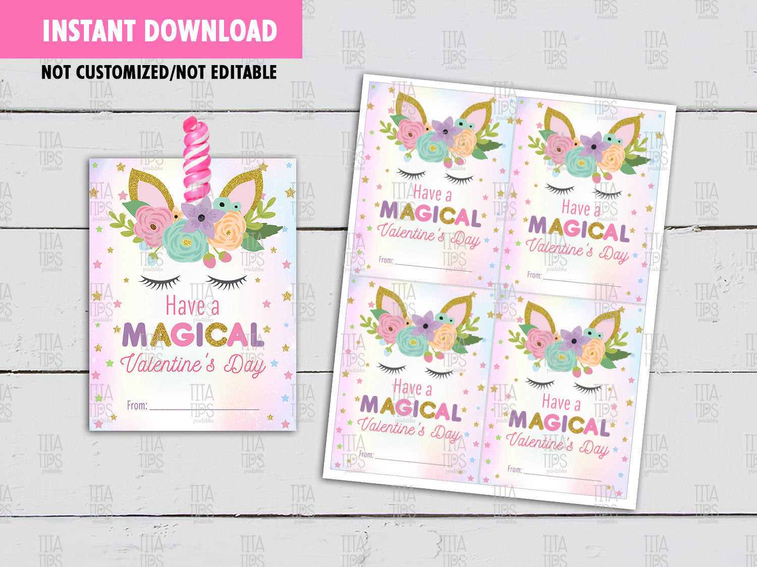 Valentines Unicorn Lollipop Holder, DIY Printable, Unicorn Exchange Tag, Instant Download - TitaTipsPrintables