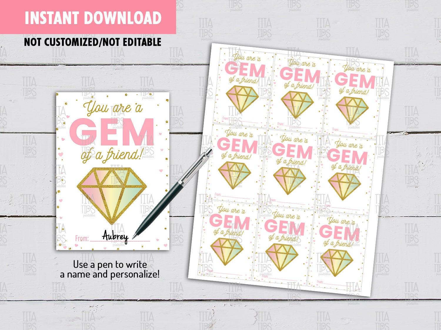 You are a Gem of a friend Valentine's Day Card DIY Printable, Gem Glitter Exchange Tag, Instant Download - TitaTipsPrintables