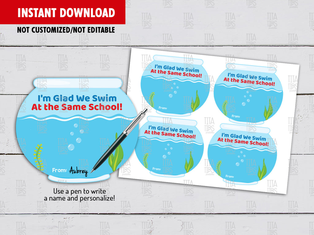 Fish Bowl Back to School, DIY Printable, Classroom Exchange, Instant Download - TitaTipsPrintables