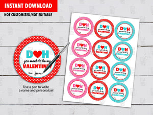 Doh you want to be my Valentine? Round Labels, Circle DIY Printable, Happy Valentines Day Cupcake Toppers, Instant Download - TitaTipsPrintables