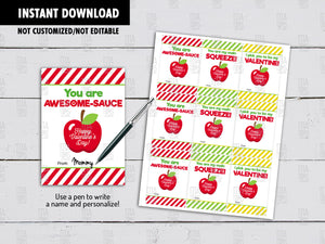 Applesauce Valentine's Day Card DIY Printable, Exchange Hang Tag, Instant Download - TitaTipsPrintables