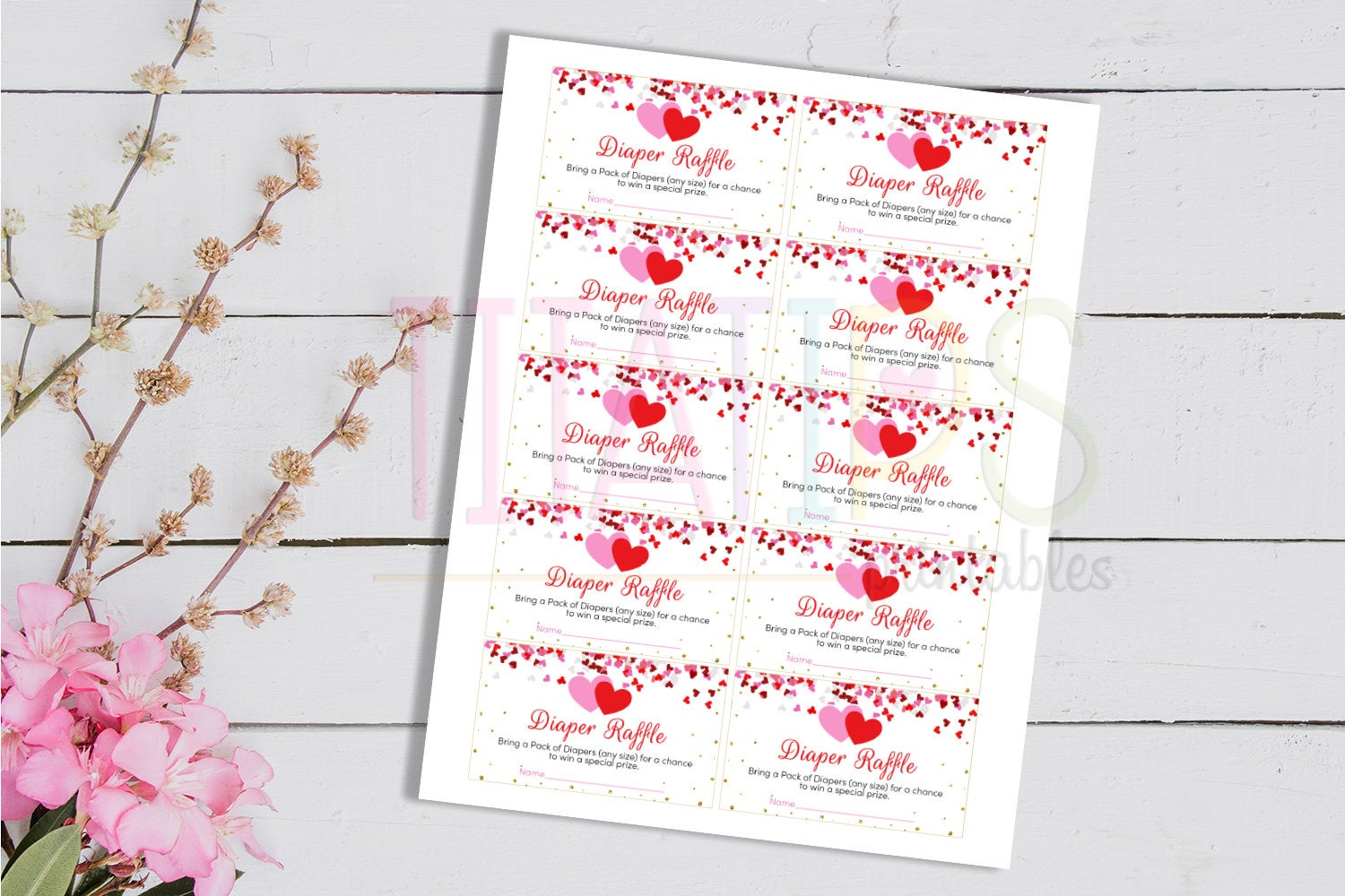 A Little Sweetheart Diaper Raffle Ticket, Heart Diaper Request, Baby Shower Card, Instant Download - TitaTipsPrintables