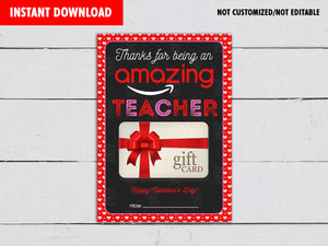 Valentine's Day Gift Card Holder, Thank You for Being Amazing, Printable Teacher's Appreciation, Instant Download - TitaTipsPrintables