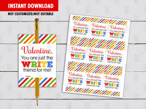 Pencil Holder Valentine's Day Card DIY Printable, You are the WRITE for me, Non Candy Exchange Tag, Instant Download - TitaTipsPrintables
