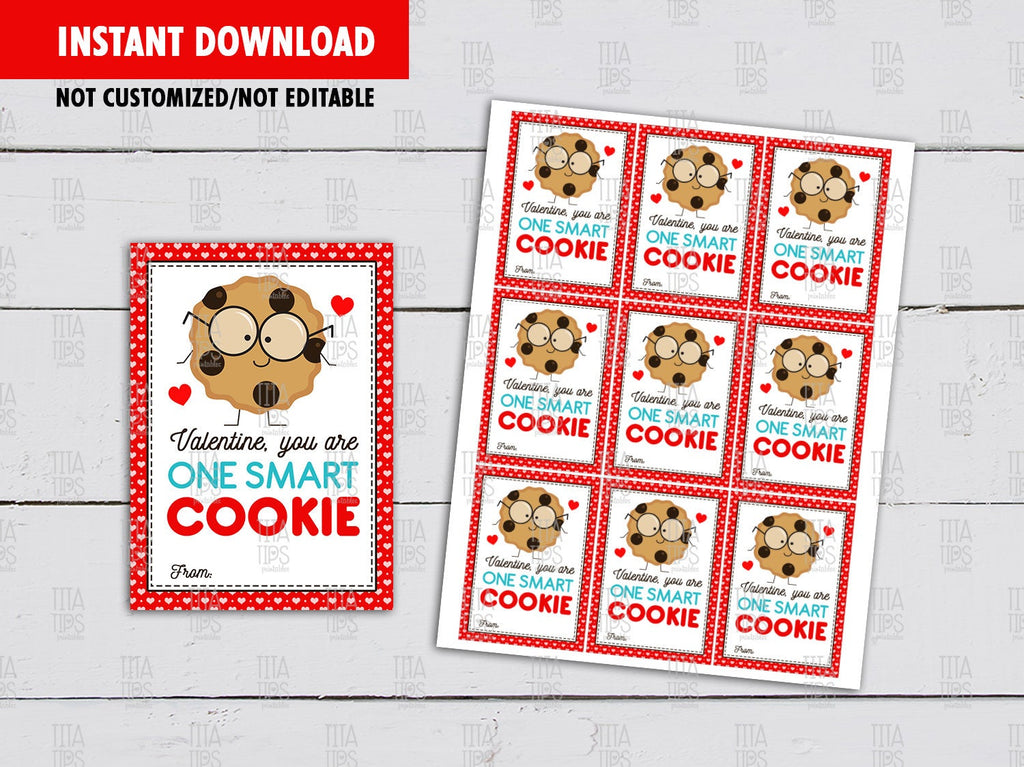 You are one smart Cookie Valentine's Day Card DIY Printable, Cookie Exchange Tag, Instant Download - TitaTipsPrintables