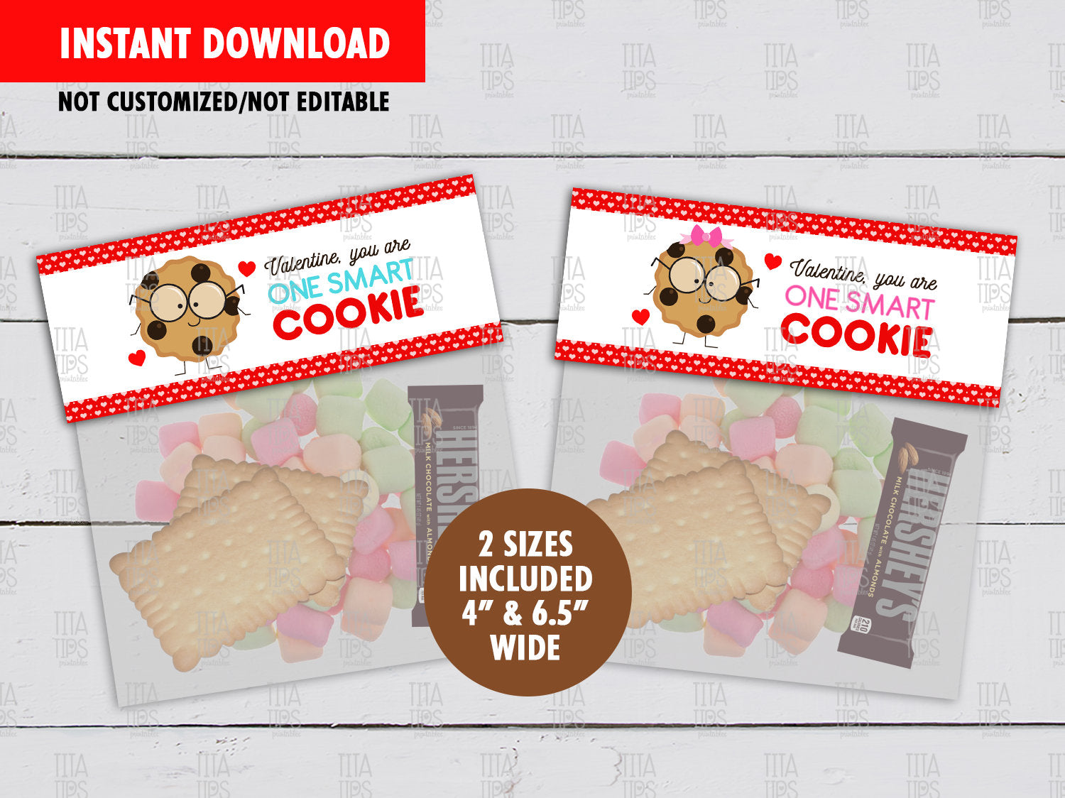 You are a Smart Cookie Valentine's Day Favor Bag Label, Printable DIY Treat Bag Toppers, Digital File, Instant Download - TitaTipsPrintables