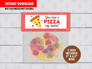 You have a PIZZA of My Heart Valentine's Day Treat Bag Toppers, Printable DIY Favor Bag Label, Digital File, Instant Download - TitaTipsPrintables