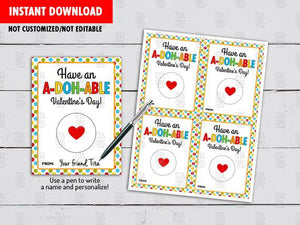 Have an A-DOH-ABLE Valentine's Day, Play Dough Printable Cards,  Instant Download - TitaTipsPrintables
