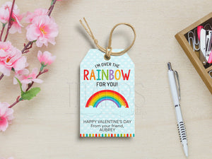 I'm over the Rainbow for you Tags, Printable Valentine's Gift Favor, PDF Template, Instant Download - TitaTipsPrintables