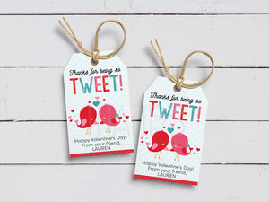 Thanks for being so TWEET! Bird Tweet Valentine's Day Favor Tags, Printable Valentine Gift Favor, PDF Template, Instant Download - TitaTipsPrintables